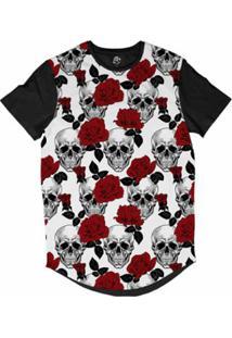 Camiseta Longline Bsc Caveira E Rosas Vermelhas Masculina - Masculino