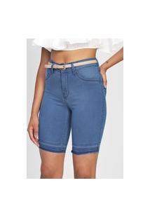 Bermuda Jeans Lunender Slim Barras Desfiadas Azul-Marinho