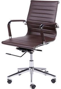 Cadeira Office Eames Esteirinha- Café & Prateada- 10Or Design