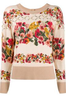 Twin-Set Cardigan Com Estampa Floral - Neutro