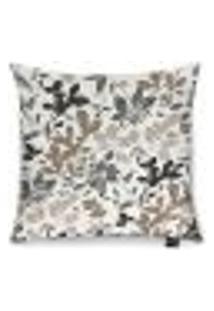 Capa Para Almofada Tecido Estampado Floral Bege E Marrom D01 - D'Rossi