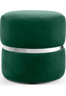 Puff Round- Verde & Prateado- 41Xø40Cm- Combinarcombinare