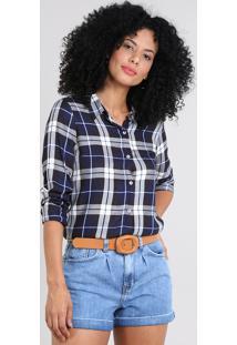 Camisa Feminina Estampada Xadrez Manga Longa Preta