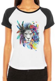 Camiseta Criativa Urbana Raglan Leoa Psicodélica - Feminino-Branco