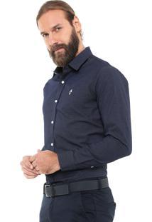 Camisa Mr Kitsch Reta Texturizada Azul-Marinho