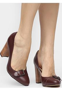 Scarpin Couro Shoestock Salto Alto Fivela - Feminino-Vinho