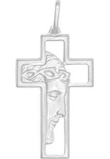 Pingente Prata Face Cristo Grande Fosco - Unissex-Prata