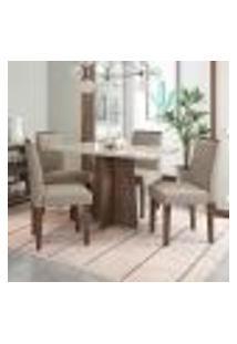 Conjunto De Mesa De Jantar Com Tampo De Vidro E 4 Cadeiras Ana I Veludo Linho Off White E Creme