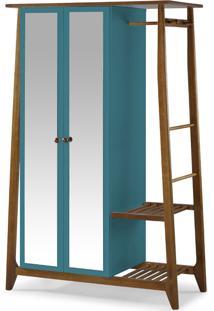 Armário Multiuso 2 Portas Stoka 982 Nogal/Azul - Maxima