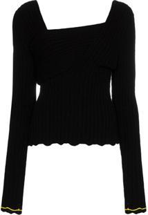 Bottega Veneta Blusa De Tricô Com Decote V - Preto