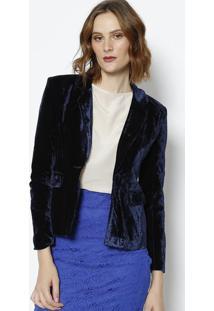 Blazer Em Veludo Com Bolsos - Azul Marinho- Le Fixle Fix