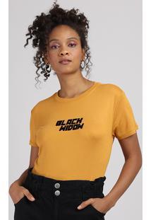 Blusa Feminina Viúva Negra Manga Curta Decote Redondo Mostarda