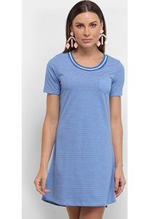 Vestido Blusão Lecimar Listrado Bolso - Feminino-Azul