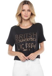 Camiseta Cropped Lança Perfume Britsh Preta