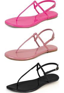 Kit 3 Pares Sandália Flat Rasteira Mercedita Shoes Pink/Opala/Preto