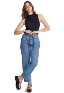 Calça Jeans Feminina Reta Em Algodão Azul