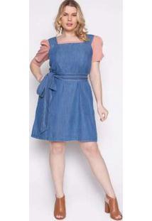 Vestido Almaria Plus Size Izzat Esmoriz Viscose Jeans Azul