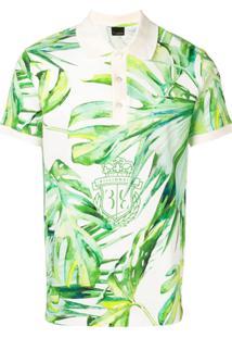Billionaire Camisa Polo Com Estampa De Folhas - Verde