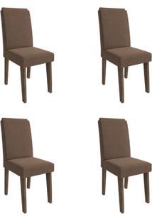 Conjunto Com 4 Cadeiras De Jantar Milena Suede Marrocos E Chocolate