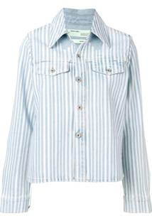 Off-White Jaqueta Jeans Listrada - Azul