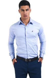 Camisa Social Levok Violeta Super Slim Marrom