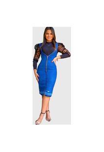 Vestido Jeans Feminino Urbania Azul Justo Lapis Plus Size Ziper Na Frente Decote Grande Urbania Moda Evangélica Modesta Cristã Com Ziper