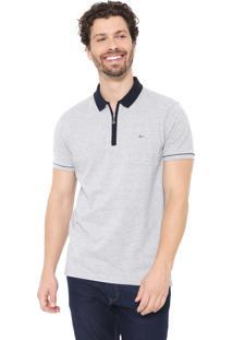 Camisa Polo Aramis Reta Zíper Cinza