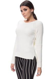 Blusa Logan Tricot Textura Clássica Ponto Arroz Branco