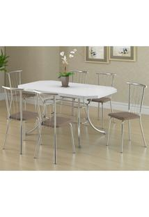 Mesa 1507 Branca Cromada Com 6 Cadeiras 154 Camurça Conhaque Carraro