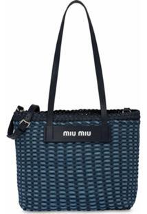 Miu Miu Bolsa Tote Com Padronagem Trançada - Azul