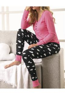 Pijama Longo Com Peitilho Feminino Malwee (1000037366) Algodão
