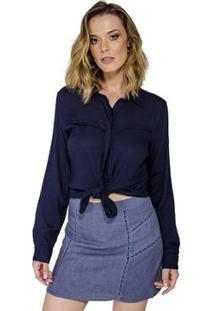 Camisa Básica Recorte Handbook - Feminino-Marinho