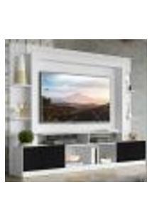 "Rack Estante Com Painel Tv 65"" E 2 Portas Oslo Multimóveis Branco/Preto"