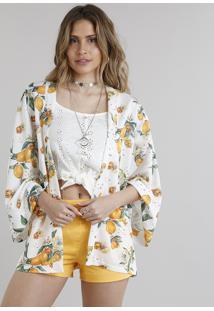 Kimono Feminino Estampado De Limões Off White