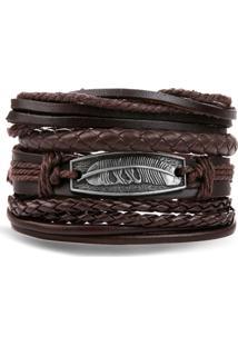 Bracelete 4 Em 1 Pulseira Artestore Em Couro Marrom Café Com Metail