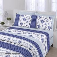 6776ea6a08 Edredom Royal Plus Queen Size- Azul Escuro   Branco-Santista
