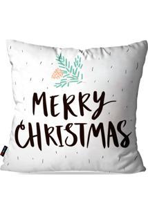 Capa De Almofada Pump Up Decorativa Avulsa Natalina Merry Christmas Fundo Branco 45X45Cm