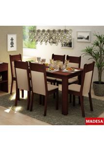 Sala De Jantar Madesa Jaine Mesa De Madeira E 6 Cadeiras - Tabaco/ Crema/ Pérola