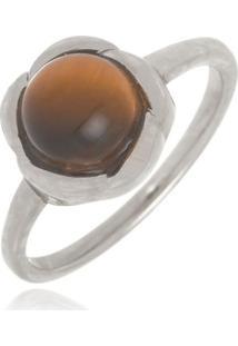 Anel Infantil Rosinha Olho De Tigre Pedra Natural Di Capri Semi Jóias X Ouro Branco Incolor - Tricae