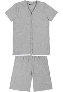 Pijama Feminino Em Malha De Algodão Com Abertura Total E Detalhe Em Renda