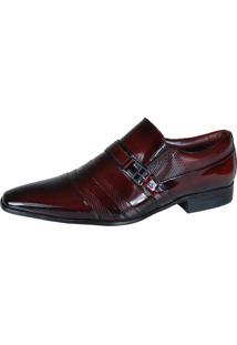 Sapato Social Gofer 11199 Couro Legítimo Dark Red