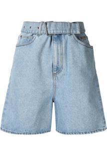 Msgm Jaqueta Jeans Bordada - Azul