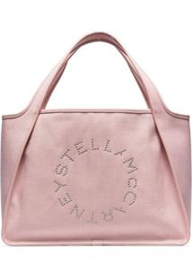 Stella Mccartney Bolsa Tote De Canvas Com Logo - Rosa