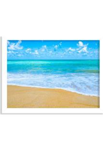 Quadro Decorativo Praia Tropical Azul Branco - Médio