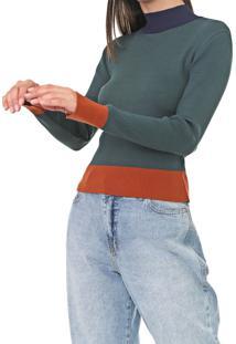 Suéter Dress To Tricot Colors Verde/Laranja - Kanui