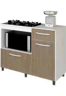 Balcão De Cozinha Cooktop E Forno Microondas Mali Branco/Carvalho Lumil Móveis
