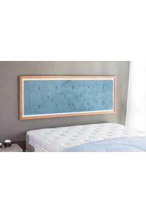 Painel Cabeceira Para Cama Queen Size Casal Box Tecido Suede Azul E Madeira Cor Jatobá - 170X62,7X3 Cm