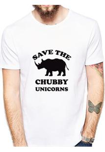 Camiseta Coolest Chubby Unicorns Masculina - Masculino-Branco