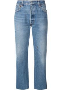 Re/Done Calça Jeans Cintura Alta Stove Pipe - Azul