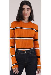 Suéter Feminino Básico Em Tricô Listrado Decote Redondo Laranja